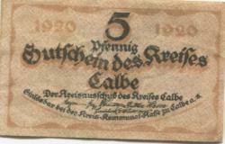 Calbe - Kreis - 1920 - 5 Pfennig
