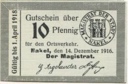 Nakel (heute: PL-Naklo nad Notecia) - Stadt - 14.12.1916 - 1.4.1918 - 10 Pfennig